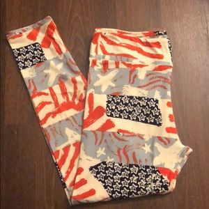 Tc lularoe Labor Day July 4th leggings